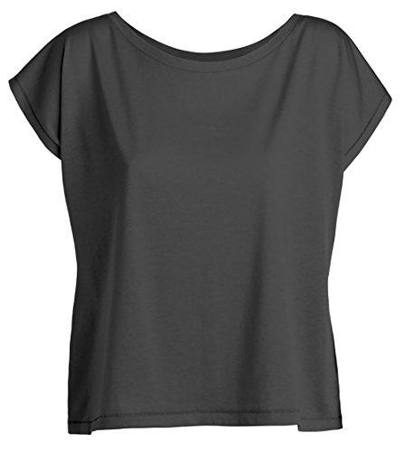 YTWOO Oversize Damen T-Shirt Aus 100% Bio-Baumwolle, Weit Geschnittenes Damen T-Shirt mit U-Ausschnitt, Oversize Damen Shirt (L, Anthrazit) (Baumwoll-jersey Damen-kurz)