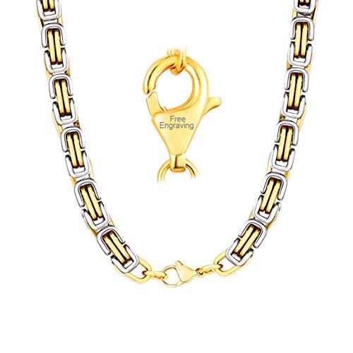 ChainsPro Doppel Farben Herren Halskette Silberkette Byzantiner Königskette Halskette Kette Collier Edelstahl Silber/Gold/Schwarzkette, 4mm/6mm,45-75 cm -