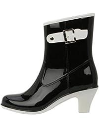 LvRao Botas Tacón Alto de Lluvia Nieve Botines Lisas de las Mujeres Zapatos de Gama Resistente al Agua