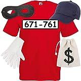Shirt-Panda Herren T-Shirt Panzerknacker Kostüm + Cap + Maske + Handschuhe Verkleidung Karneval SET06 T-Shirt/Cap/Maske/Handschuhe/Beutel L
