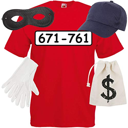 Shirt-Panda Herren T-Shirt Panzerknacker Kostüm + Cap + Maske + Handschuhe Verkleidung Karneval SET06 T-Shirt/Cap/Maske/Handschuhe/Beutel - Teenager Gangster Kostüm