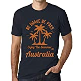 Uomo Maglietta Tee Vintage T Shirt Be Brave & Free Enjoy The Summer Australia Marine