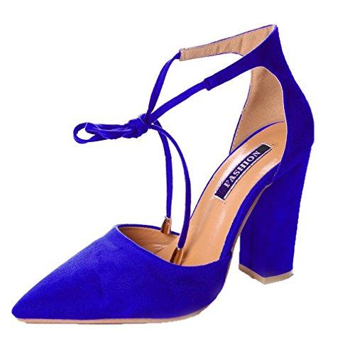 Minetom donna estate scarpe col tacco stiletto elegante cinturino caviglia tacco alto pompe partito sandali con lacci blu reale eu 39