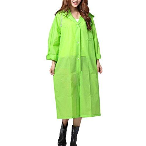 Zhhlaixing Outdoor Adult Hooded Raincoat PVC Waterproof Poncho Coat Long Sleeve Teal Green