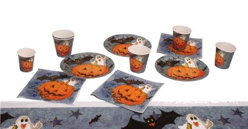 Halloween Tischset für 6 Personen Becher Teller Servietten Tischdecke Kürbis Deko Partyset (Halloween Party Teller)