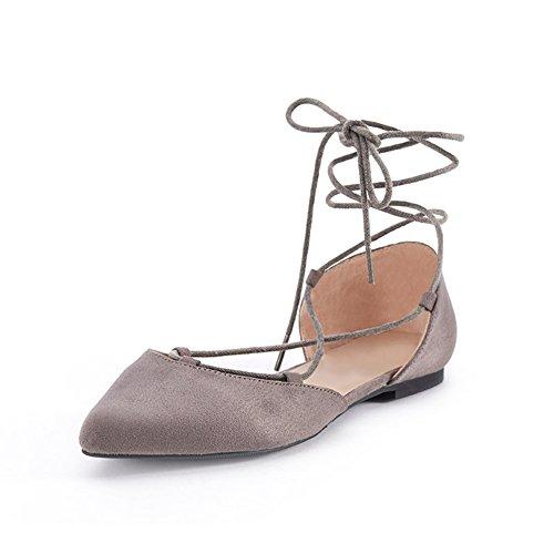PENGFEI Stiefeletten Schuhe Ballet Tanz Sandalen Frühling Spitze Zehen Riemen Flachboden Damen 2 Farben (Farbe : Grau, größe : EU38/UK5.5/L:240mm)