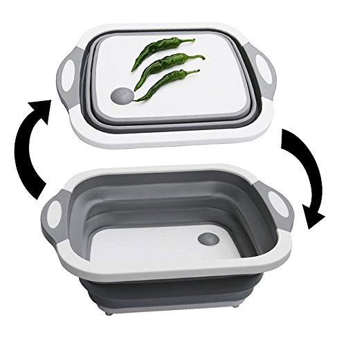 UMIWE Planche à Découper en Plastique Pliable, Évier Planche à Découper avec Prise, Passoire Pliable/Panier de Vidange de Légumes/Bac à Vaisselle pour Cuisine Extérieure