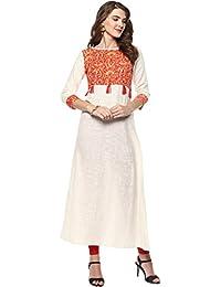 Janasya Women's Cotton A-Line Kurta
