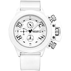 Megir White Men Chronograph Silicon Sport Quartz Wrist Watches