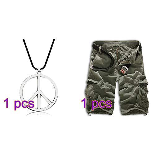SayHia 1 Stück Metall Friedenszeichen Anhänger 1960er Jahre 1970er Jahre Hippie Party Accessoires Halskette -