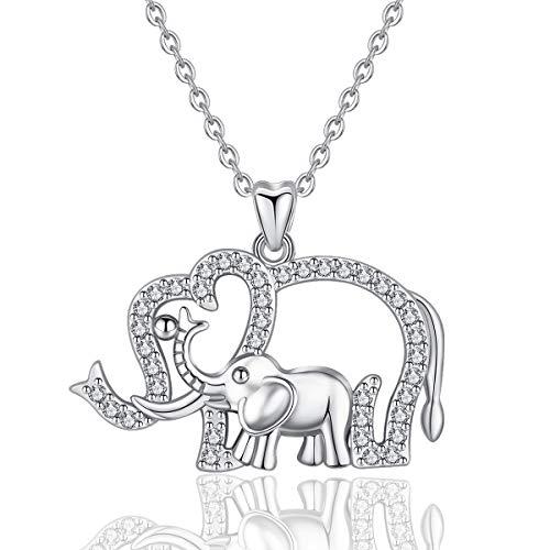 9bfd096425a3 EUDORA Collar de Elefante Plata de ley 925 Colgantes Lindo Elefante Madre.