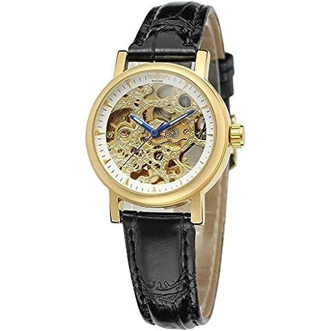downj Vogue de piel Para Mujer automático esqueleto reloj de pulsera con esfera de color oro