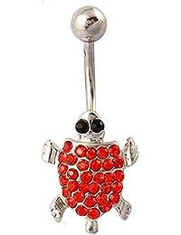 Tortuga vientre anillo cuerpo de cristal transparente, el Naval de tanzanita Rojo Jewelry 14 G