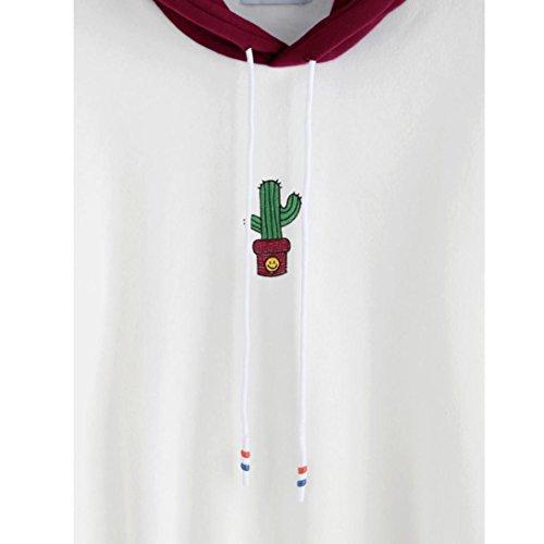 DOLDOA Femme Manche Longue Cactus Imprimer Encapuchonné Sweat à Capuche Vin rouge