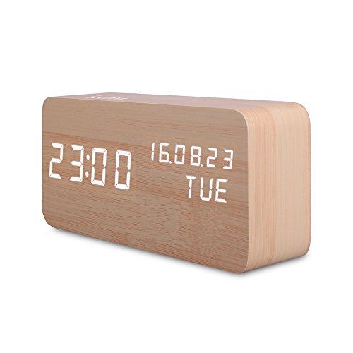Reloj Digital Despertador Madera de Haya con Control de Sonido y LED Brillo de la Pantalla