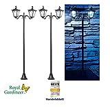 Royal Gardineer Solarleuchten Garten: 2er-Set Solar-LED-Gartenlaterne, 2 flammig, PIR- & Dämmerungssensor (Solarlaterne Bewegungsmelder)
