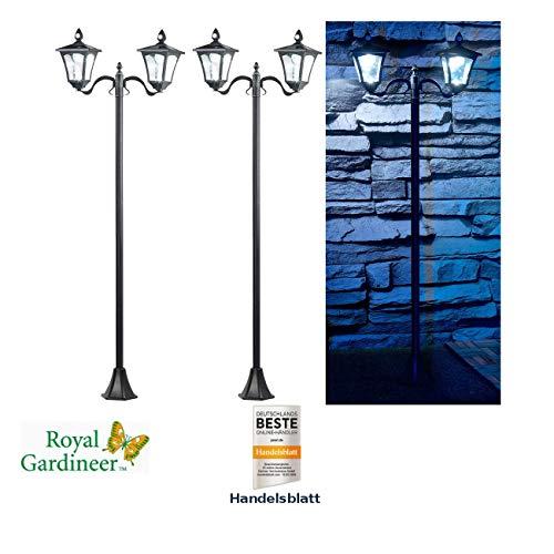 Royal Gardineer Solarleuchten Garten: 2er-Set Solar-LED-Gartenlaterne, 2 flammig, PIR- & Dämmerungssensor (Solar-Garten-Lampen)