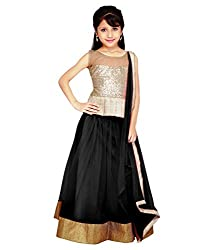 The Fashionup black semistitched LenghaCholi for5-6 year Girls with dupattas