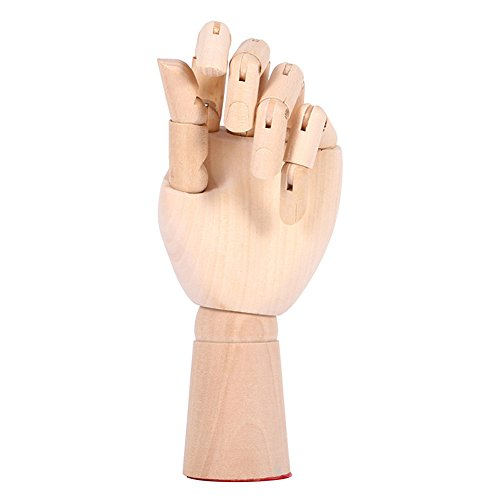 "Scoolr Wooden Articulated Left/Right Hand Men Women Wooden Hand Manikin for Art Drawing Figure Manikin Model 7"" /18CM (Left hand)"