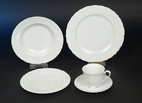 Rocaille Weiss Kombi Komplett Tafel Kaffee Service 77 teilig Neu Rund Porzellan Geschirr Set 12...
