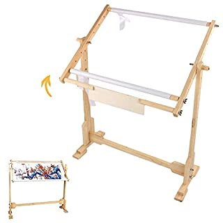 Cross Stitch Frame Stand, Adjustable Wooden Frame Embroidery Stand Cross Stitch Floor Needlework Stand with 5 Adopted Height Level, 9CT
