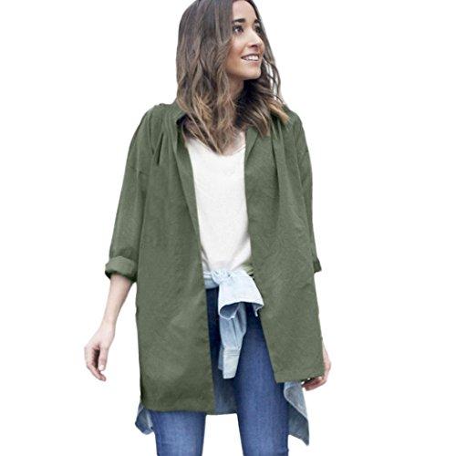 FORH Damen Langarmshirt Offene Cardigan Jacke Vintage Windbrecher Parka Taschen Strickjacke Slim fit Mantel Wasserfall Outwear Outdoorjacke Freizeit Kimono Coat (XL, Armee grün)