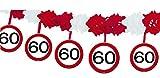 1 Girlande mit Dekoration * 60. GEBURTSTAG * mit Verkehrsschild-Design // Set Banner with Dangling Cutouts Decoration Deko Wimpelkette Jubiläum Sechzig Jahre