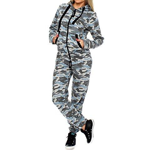Finchgirl 81B4 Camouflage Damen Jumpsuit Jogger Grau