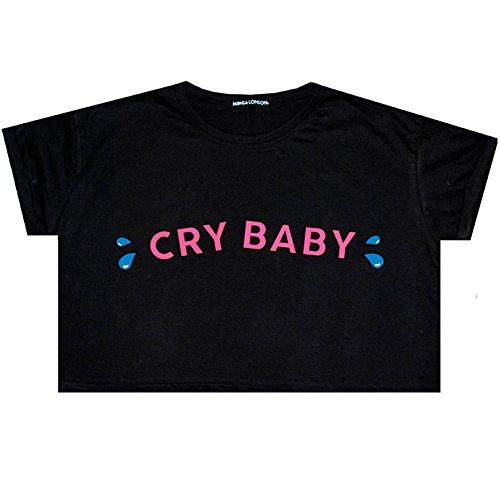 Cry Baby Crop Top Fun Damen Tumblr kawaii Gr. One size, Schwarz - Schwarz