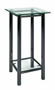 Haku Möbel 42072 Console Tube d'Acier/Verre Trempé Noir/Nickelé-35 x 35 x 72 cm