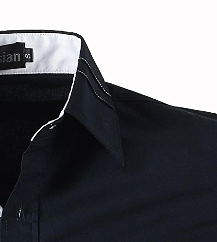 jeansian Herren Freizeit Hemden Shirt Tops Mode Langarmlig Men's Casual Dress Slim Fit 2028 2028a_Navy