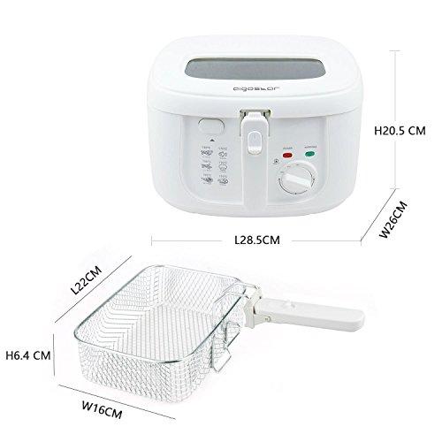 Aigostar Indra 30HEX   Freidora de 2 5 litros de capacidad  1800 watios de potencia y libre de BPA. Color blanco con gran ventana transparente  control de temperatura e indicador luminoso.