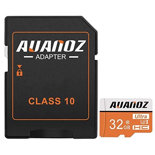 Auanoz TF-Speicherkarte 32GB, Ultra Klasse 10 UHS-I High Speed Speicherkarte für Telefon, Tablet und PC - mit Adapter.(Orange-32gb)