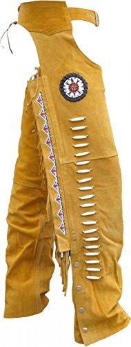 Chaps Fransenhose Reiter Cowboy Indianer Western Lederchaps Lederhose Ocker, Größe:60 -