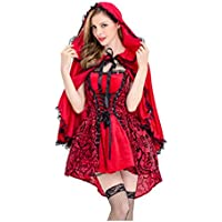 WLG Disfraz de Halloween, Disfraz gótico de Caperucita Roja, Disfraz de actuación, Manto de Falda,A,S