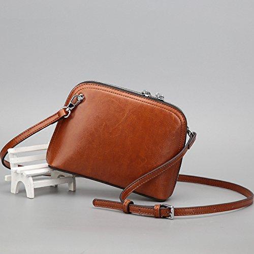 GUANGMING77 Unica Borsa A Tracolla _ Cera Elegante Mini Unica Borsa A Tracolla Messenger Bag Tutti-Match Borsa Shell,Nero Claret