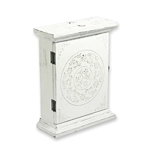 Antique White Finish Wooden Key Box Cupboard with Rustic Floral Pattern