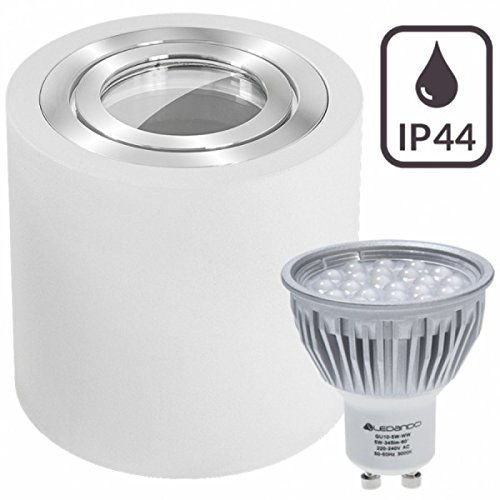 IP44 LED Aufbaustrahler Set Weiß mit LED GU10 Markenstrahler von LEDANDO - 5W - warmweiss - 60° Abstrahlwinkel - Feuchtraum / Badezimmer - 50W Ersatz - LED Aufbauleuchte Zylinder