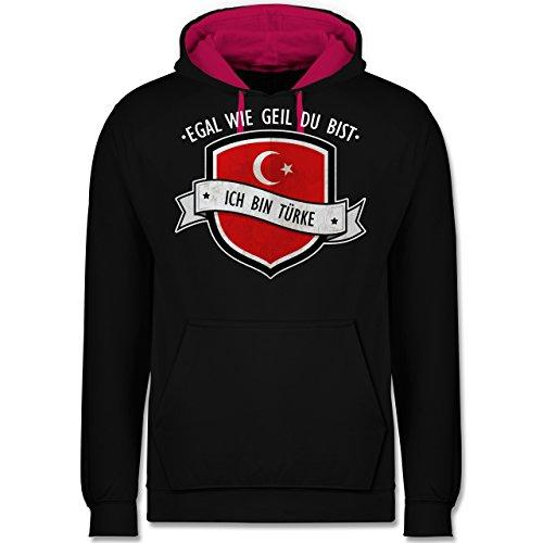 Länder - Egal wie geil du bist - ich bin Türke - Kontrast Hoodie Schwarz/Fuchsia