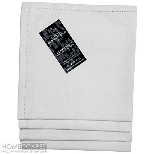 Serviette Stoff Baumwolle (Homescapes Servietten Set 4 teilig weiß unifarben 45 x 45 cm aus 100% reiner Baumwolle, Stoffservietten weiß)