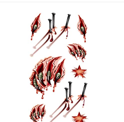 Horror Scar Scratch Scratch Blut Wasserdicht Sweat Tattoo Sticker Tattoo Sticker ()