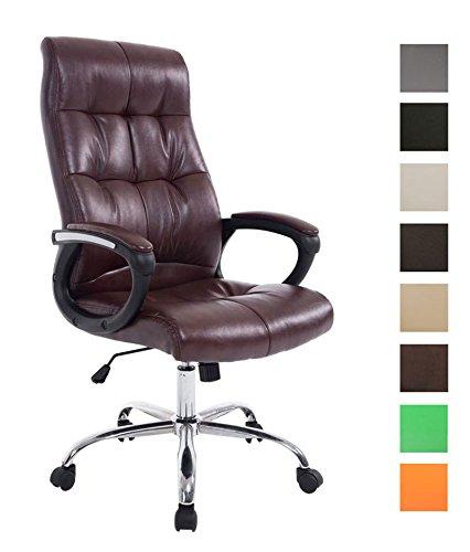 CLP XXL Bürostuhl Poseidon mit Kunstlederbezug | Höhenverstellbarer Drehstuhl mit Laufrollen | Chefsessel mit max.Tragkraft bis zu 160 kg Bordeauxrot