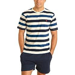 El Búho Nocturno Pijama de Caballero | Pijama de Hombre de Manga Corta Moderno a Rayas Anchas | Ropa de Dormir para Hombre - Punto, 100% algodón - Talla XL - Color Azul Marino, Azul y Blanco