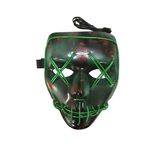 Halloween-Party-Verzierung Halloween-Dekorationen Halloween Glühende Maske Geist Tanz Maske LED Maske für Kostüm Party (Farbe : Green, Größe : 20 * 20 * ()