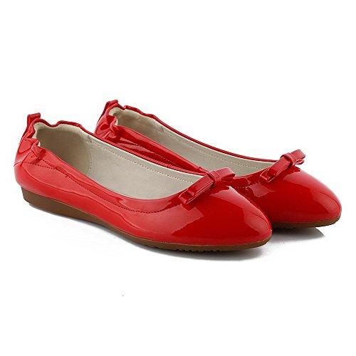 VogueZone009 Femme Rond Tire Pu Cuir Couleur Unie à Talon Bas Chaussures à Plat Rouge