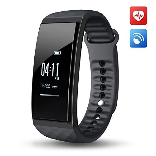 OMORC Fitness Armband Herzfrequenz Fitness Tracker Sport Armband Schrittzähler Kalorienzähler Musiksteuerung Stoppuhr Fitnessaufzeichnung Schlafmonitor für iPhone Samsung iOS und Android