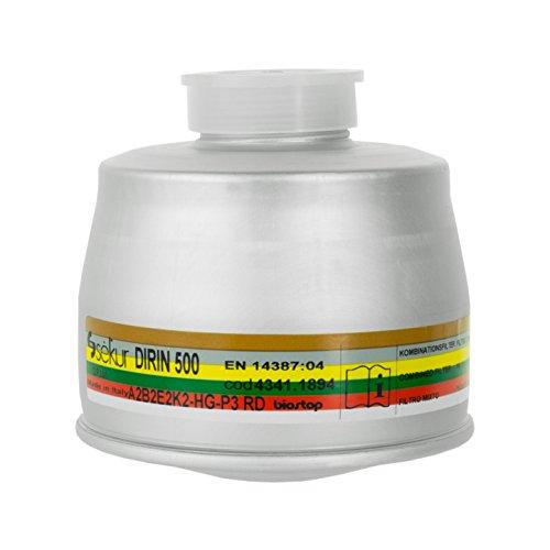 Sekur DIRIN 500 A2B2E2K2HgP3 RD Atemschutzfilter | Partikelfilter für Atemschutzmaske | Filter für Atemschutzmasken mit Rundgewinde RD40