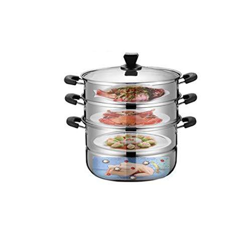 YXHUI Vaporera, juego de vapor de cocina de acero inoxidable de 3 capas, para cocinar al aire libre, estufa a gas, utensilios de cocina de vapor universal, plateado, 22 cm (28 * 35) cm Good life, good
