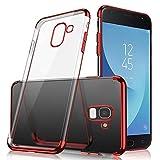 Uposao Kompatibel mit Samsung Galaxy A8 Plus 2018 Hülle Silikon Transparent Handyhülle Weiche Silikon Plating Überzug Bumper Schutz Schutzhülle Ultra Dünn Stoßfest Anti-Kratz Case Tasche,Rot
