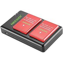 Neewer 2-Pack 1050mAh Nikon EN-EL14 Batería de Iones de Litio de Repuesto (Rojo) con Cargador Dual USB para Nikon D3100 D3200 D3300 D3400 D5100 D5200 D5300 D5500 Cámara DSLR,Empuñaduras MB-D31 MB-D51